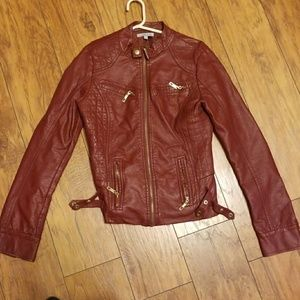 Charlotte reus leather jacket reddish brown